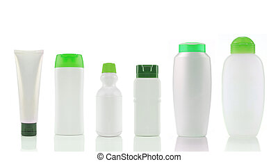still life portrait of a group of product packaging. each...