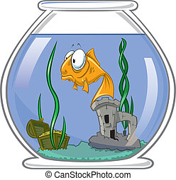 Goldfish in bowl - A lonely goldfish floating in the...