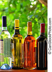 Assortment of portuguese wine bottles.