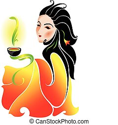 Woman drinking green tea. Vector illustration.