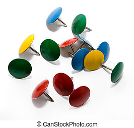 Colored push pins isolated on a white