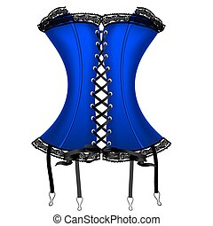 ladys blue corset - on a white background is a big blue...