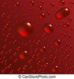 Water drops are on the red surface. Vector seamless...