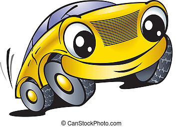 Funny yellow car - The cartoon car with smile