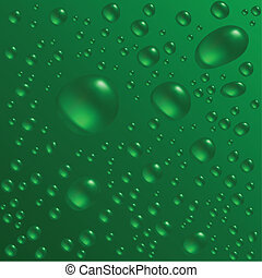 Water drops are on the green surface Vector seamless...