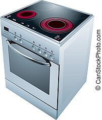 Cooker oven - Electric cooker oven. Vector illustration.