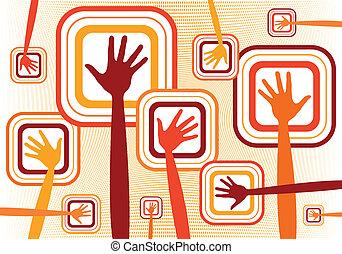 zděšený, ruce, design