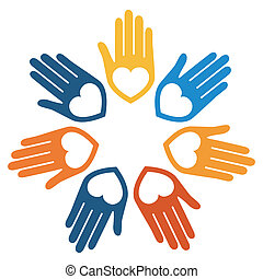 United hands and hearts design - United hands and hearts...
