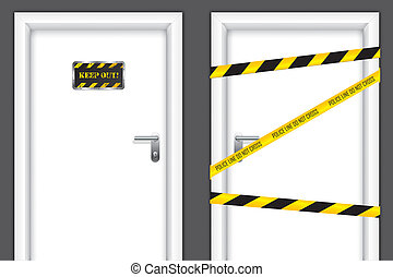 Banned doors - Doors with caution messages and forbidden...