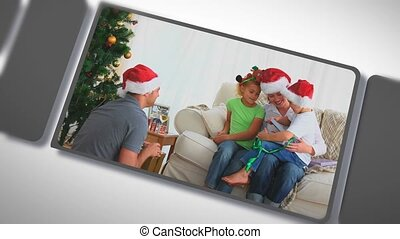 Montage of families together for Christmas