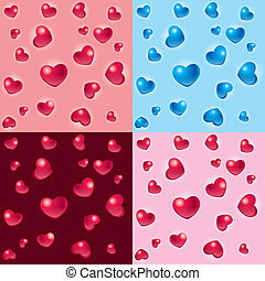 Valentine hearts backgrounds - Vector set of Valentine heart...