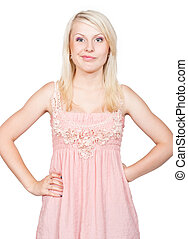 Sneering young beautiful blonde girl. Isolated on white...