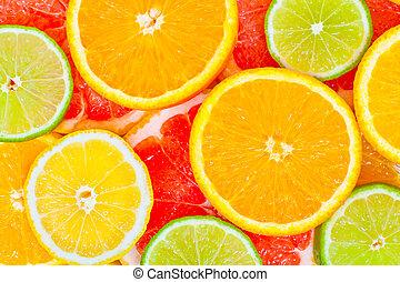 Mixed citrus fruit background