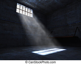 jail - concrete grunge jail and light from window