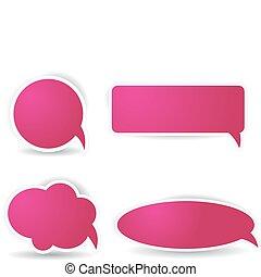 Speech bubbles in pink color - Four different speech bubbles...