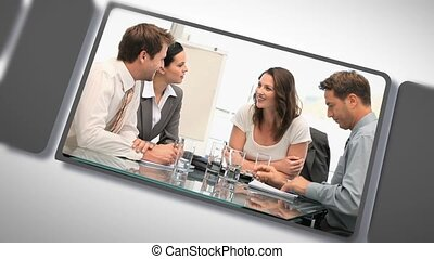 Montage of a business people during meetings