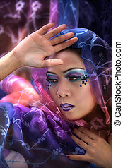 Asian Woman Wearing a Colorful Veil - Young Pretty Asian...
