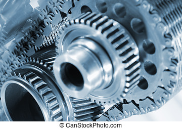 gears and chains - gear wheels powered by chain, shallow...