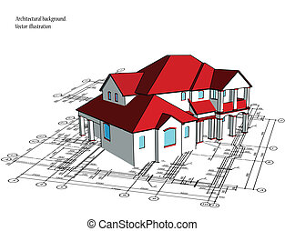 3d house. Vector technical draw - 3d house technical draw....