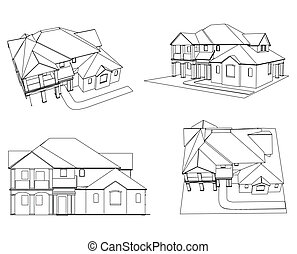 Set house Vector - CAD elevations for a house front rear
