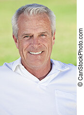 Outdoor Portrait of A Happy Handsome Senior Man - Portrait...