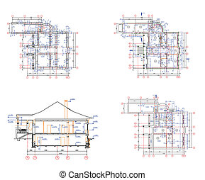 Set architecture background: house plan - Set abstract...