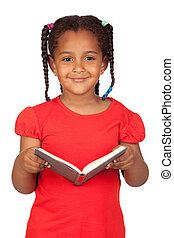 African little girl reading a book