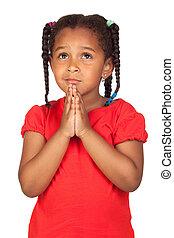 triste, pequeno, menina, orando, algo