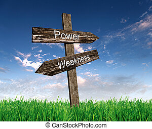 two road signs with words power and weakness