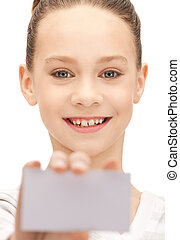 teenage girl with business card - bright picture of...