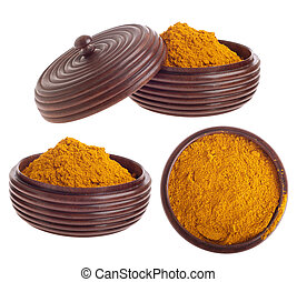 Curry powder on bowl - curry powder, mix of indian spices on...