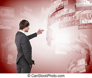 business person and digital screens - business person with...