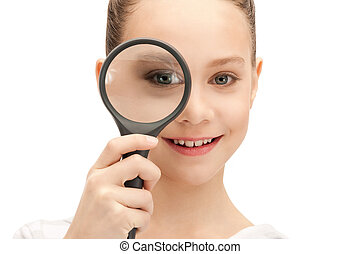teenage girl with magnifying glass - picture of teenage girl...