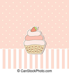 Pink background with cupcake Vector illustration