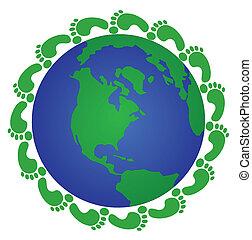 globe and footprints - green footprints moving around the...