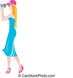 Young beautiful girl with a camera Illustration on white...