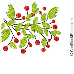 Branch with fruits - Branch with red fruits and green leaves...