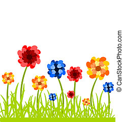 Flowers on meadow - Colorful flowers in the grass. Vector...