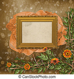 Wooden frame for photos with bunch of flowers