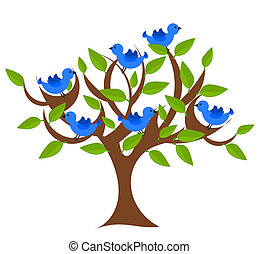 Fantasy tree with blue birds. Vector illustration