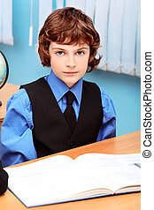 diligent - Portrait of a schoolboy in a classroom