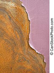 Peeling paint on metal - Peeling purple paint on rusty metal