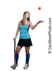 Woman Field Hockey - A beautiful young woman field hockey...