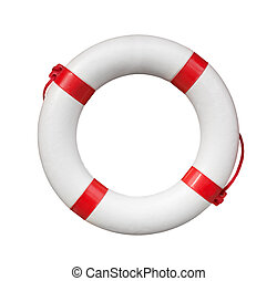 Life buoy - Red and white life buoy isolated on white