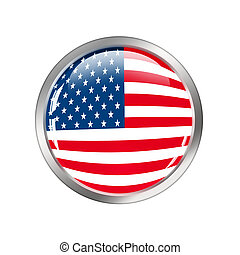 USA flag button over white