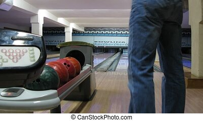 People play bowling in club, time lapse - People play...