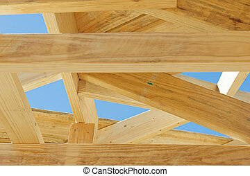 New home construction framing.Fragment. - Fragment of a new...
