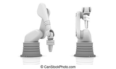 Industrial robotic arms building brand word isolated on...