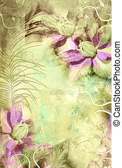 Beautiful grungy background with clematis