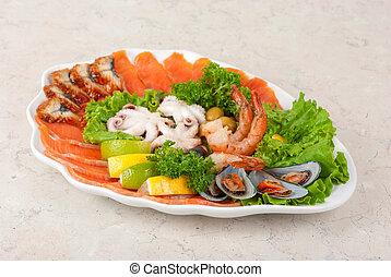 mariscos, ensalada